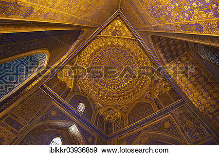 "Stock Photograph of ""Ceiling decorated in gold, mosque in the."