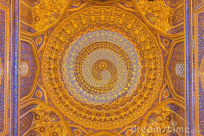 Gold Mosaic Dome In Tilya Kori Madrasah, Samarkand, Uzbekista.