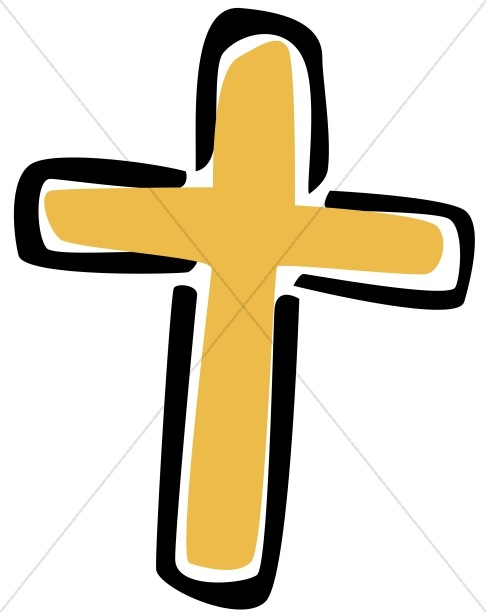 Simple Gold Cross Clipart.