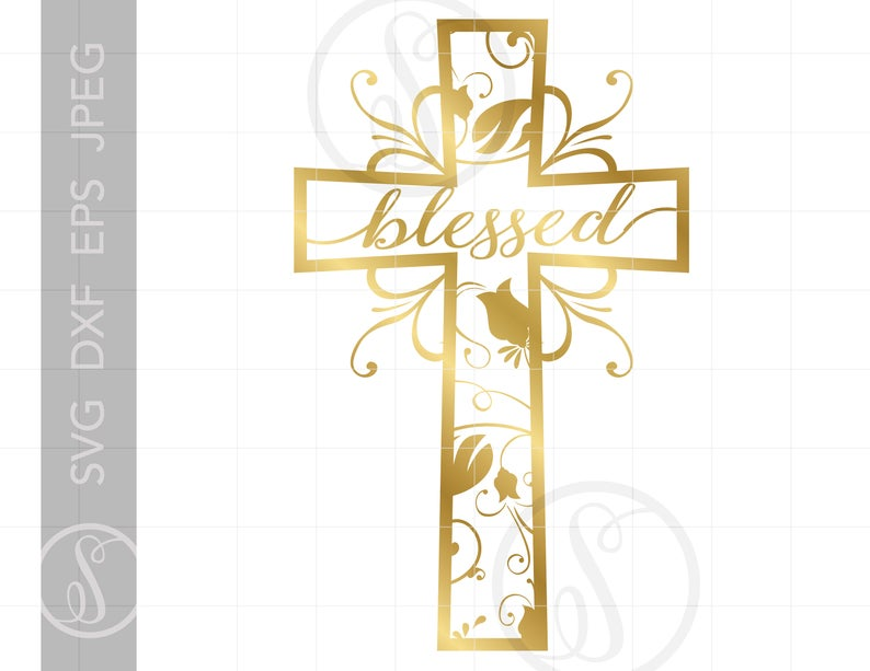 Gold Blessed Cross SVG.