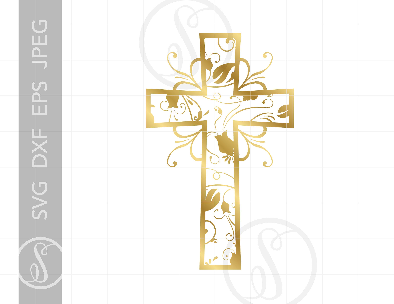 Gold Christian Art Cross Svg Vector Clipart Downloads.