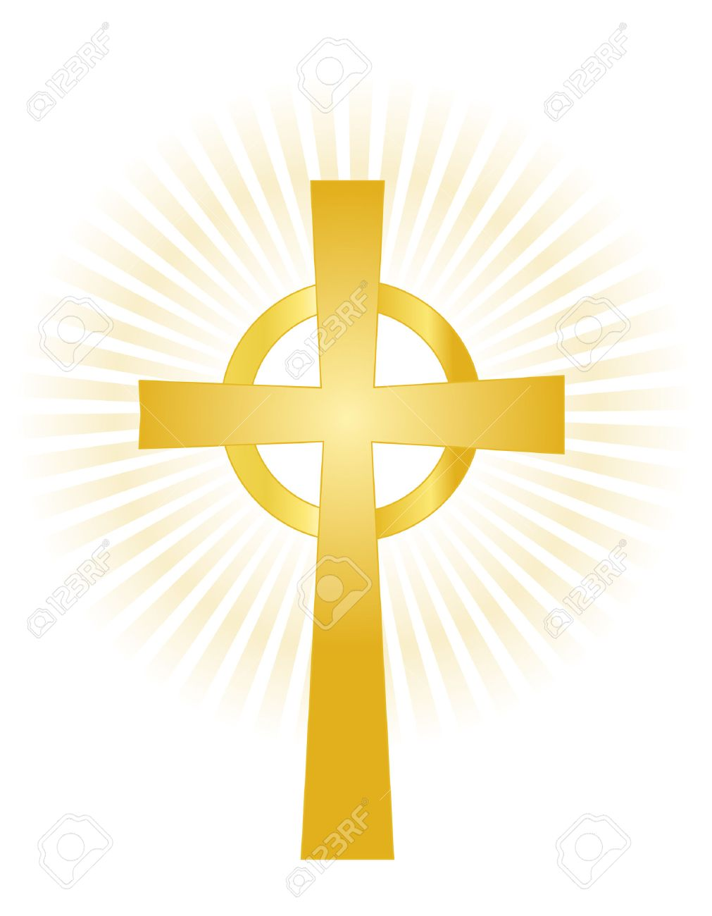 Illustration of a gold holy cross on glowing background isolated...