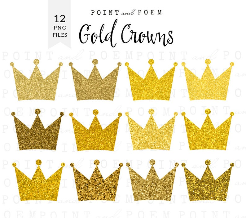 gold crown, crown clip art, gold crown clipart, sparkly digital crown,  princess, party, scrapbooking, commercial use, instant download.