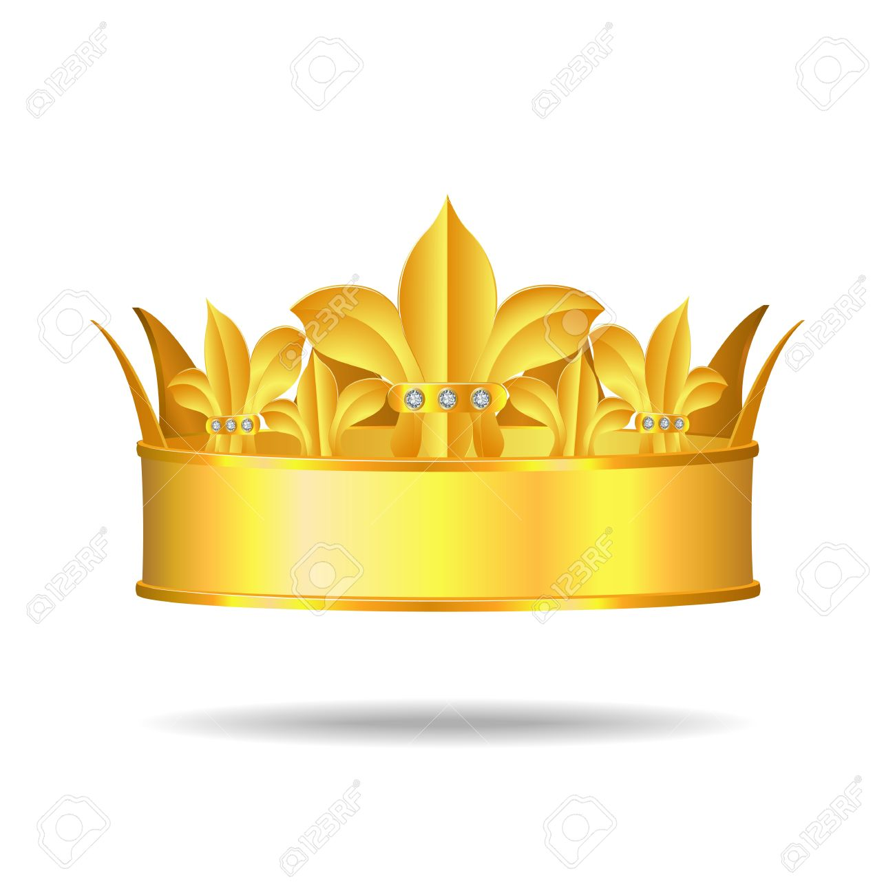 Gold Crown With White Gems Royalty Free Cliparts, Vectors, And.