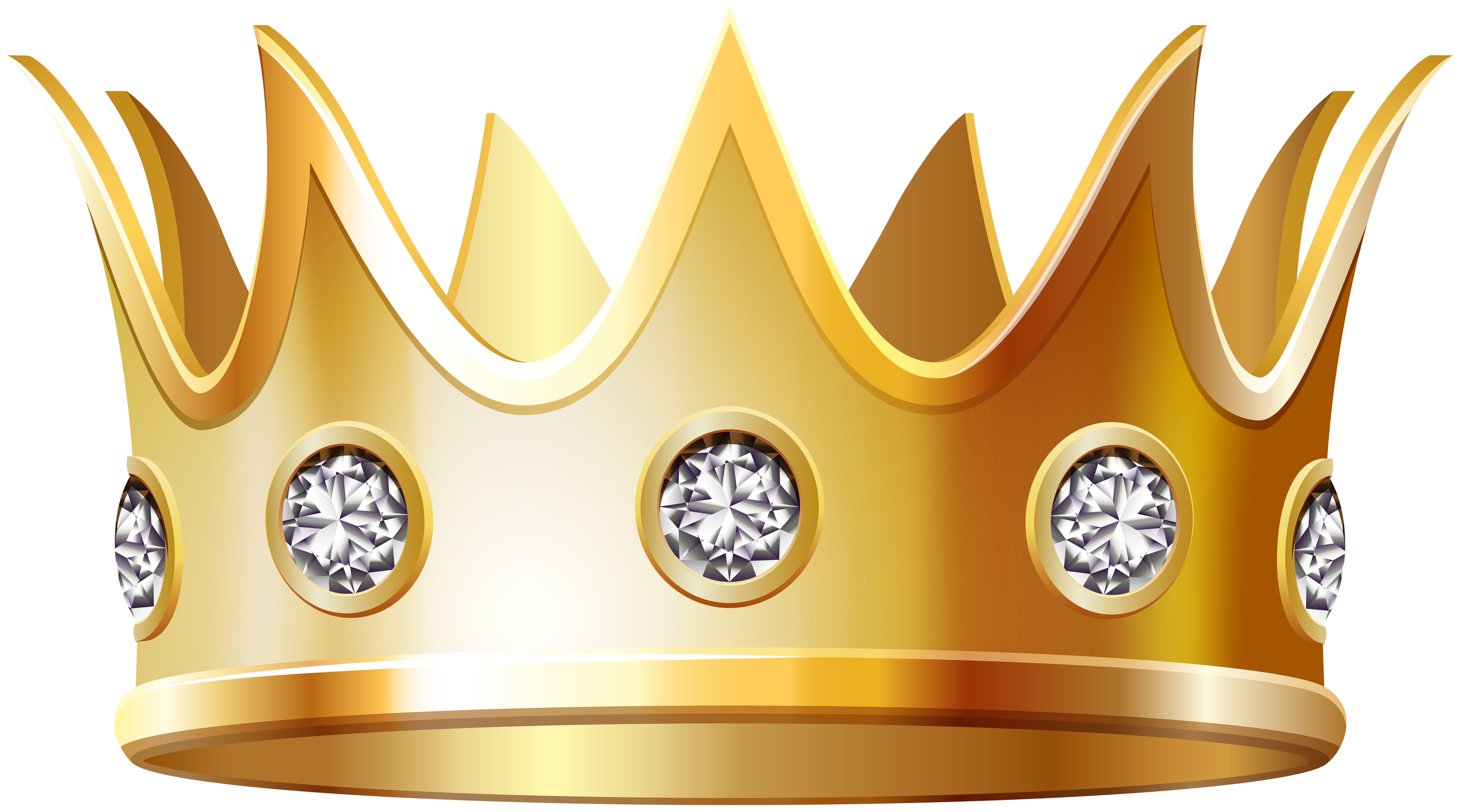 Gold Crown with Diamonds PNG Clip Art Image.