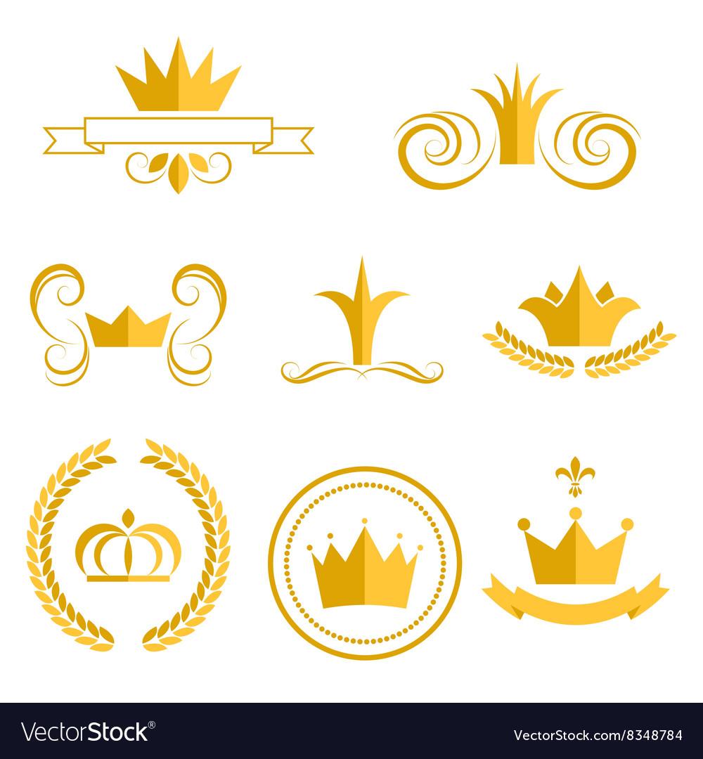 Gold crown logos and badges clip art set.