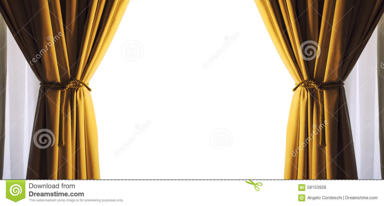 Curtains Empty Free White Space Frame. Gold Color. PNG Available.