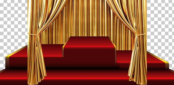 Curtain Stage Gold PNG, Clipart, Angle, Carpet, Chair, Curtain.