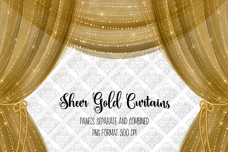 Sheer Gold Curtain Overlays.
