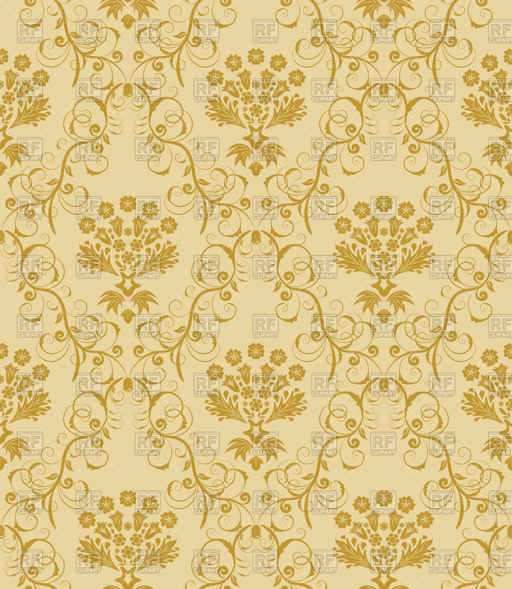 Damask seamless gold pattern Stock Vector Image.