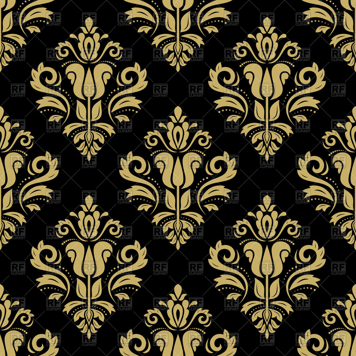Seamless dark gold damask pattern Stock Vector Image.
