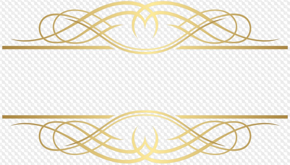 Gold decorative elements, dividers, corners, PNG.