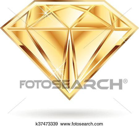 Gold diamond logo. Clip Art.