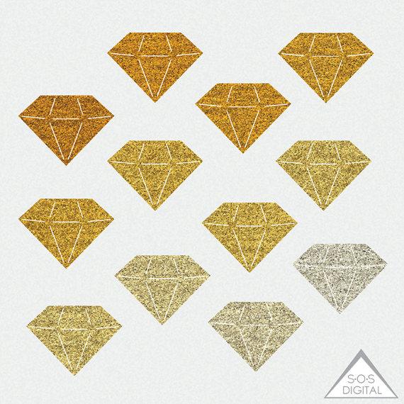 Gold Glitter Diamond Clipart, Gemstone Clipart, Rhinestone Clipart.