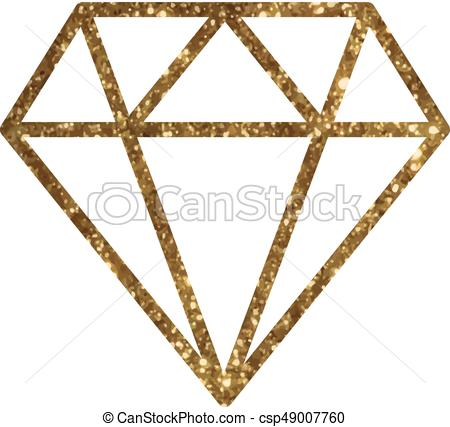 Vector golden glitter of flat diamond icon.