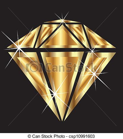 Vector Clipart of Diamond in gold with bling bling vector.