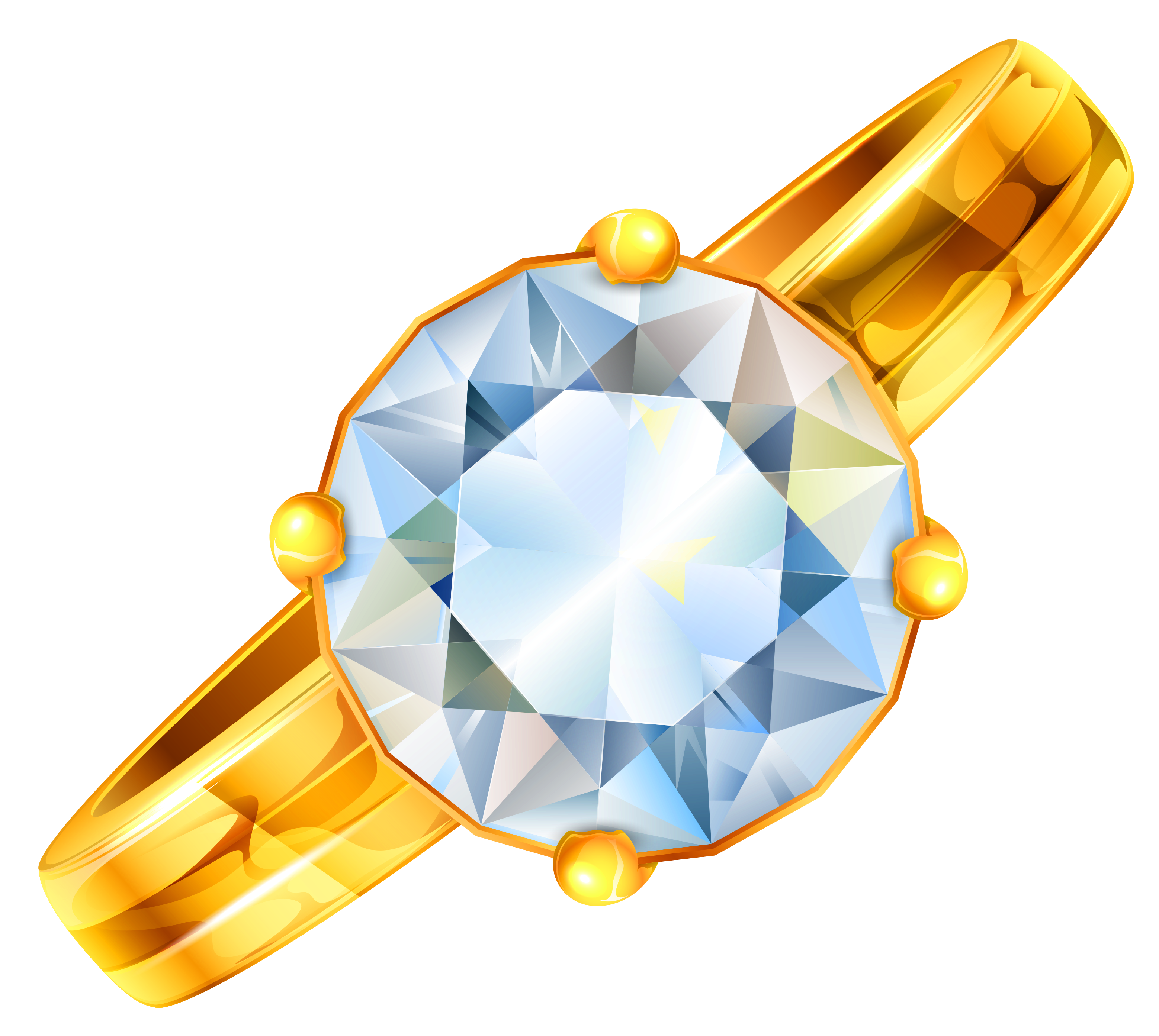Gold Ring with Diamond Clipart.