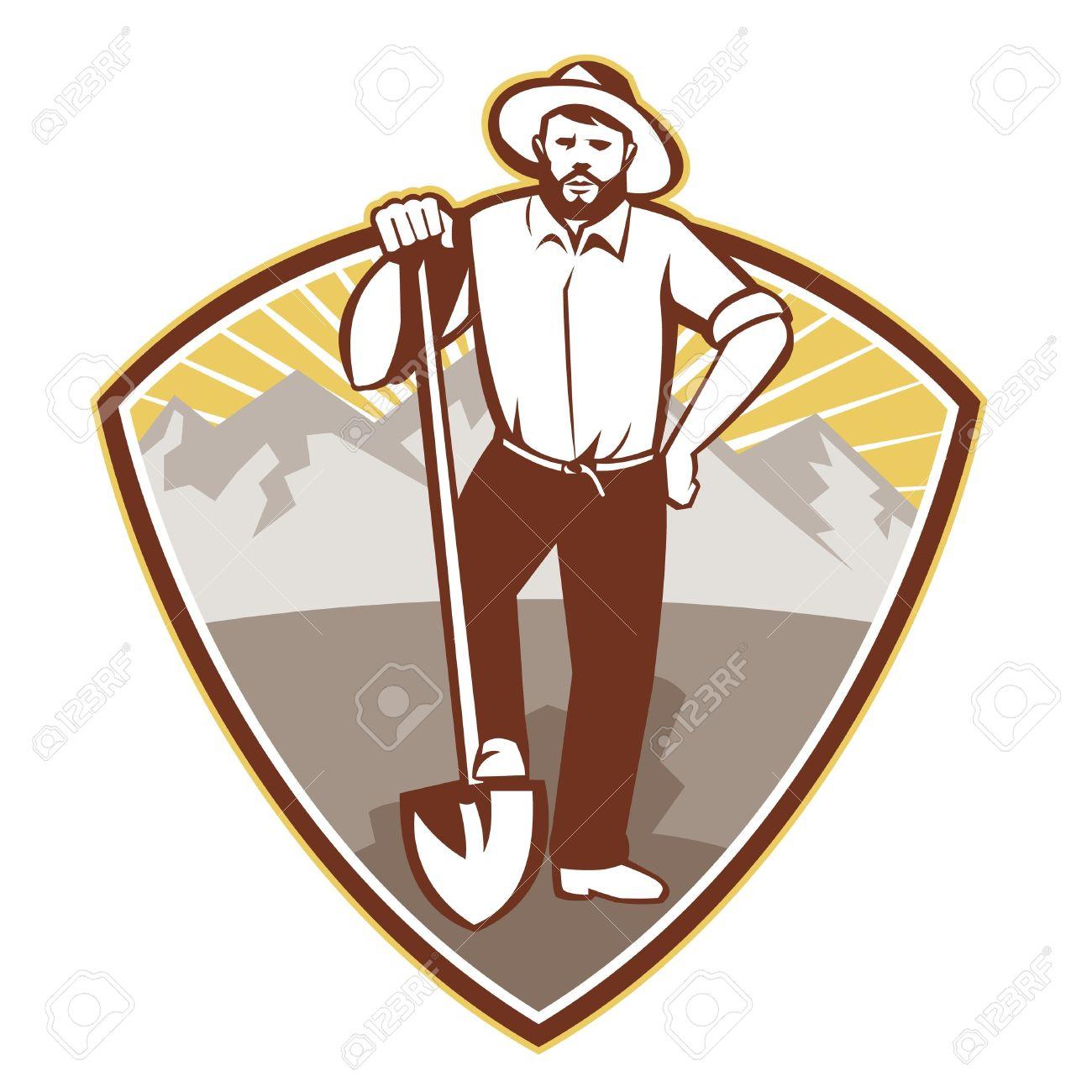 Illustration Of A Gold Digger Miner Prospector With Shovel Spade.