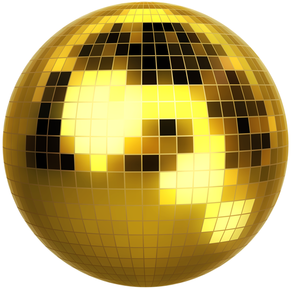 Gold Disco Ball Clip Art PNG Image.