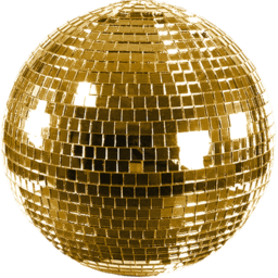 Shiny Gold Disco Ball transparent PNG.