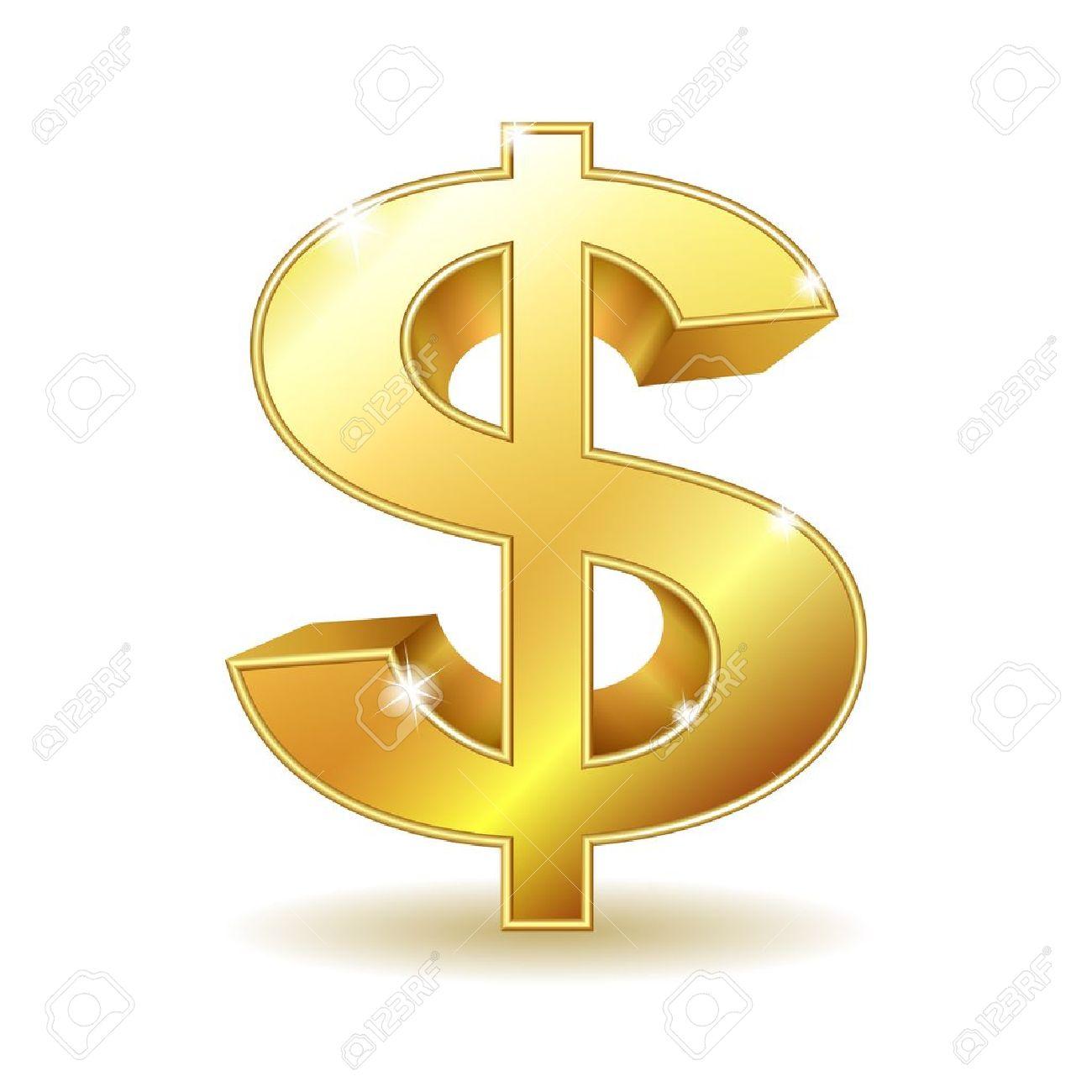 Golden Dollar Sign Isolated On White Background Illustration.