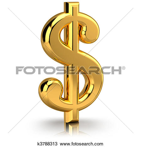 Stock Illustration of Golden dollar sign on white k4369559.