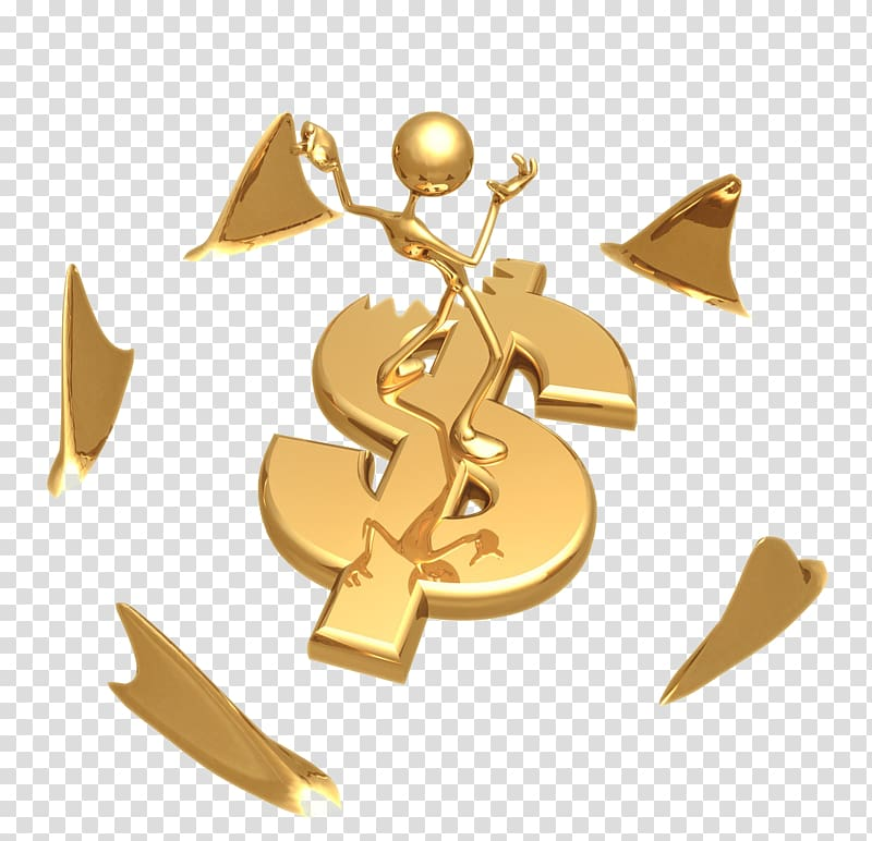 Gold dollar sign illustration, 3D computer graphics Icon, 3D villain.