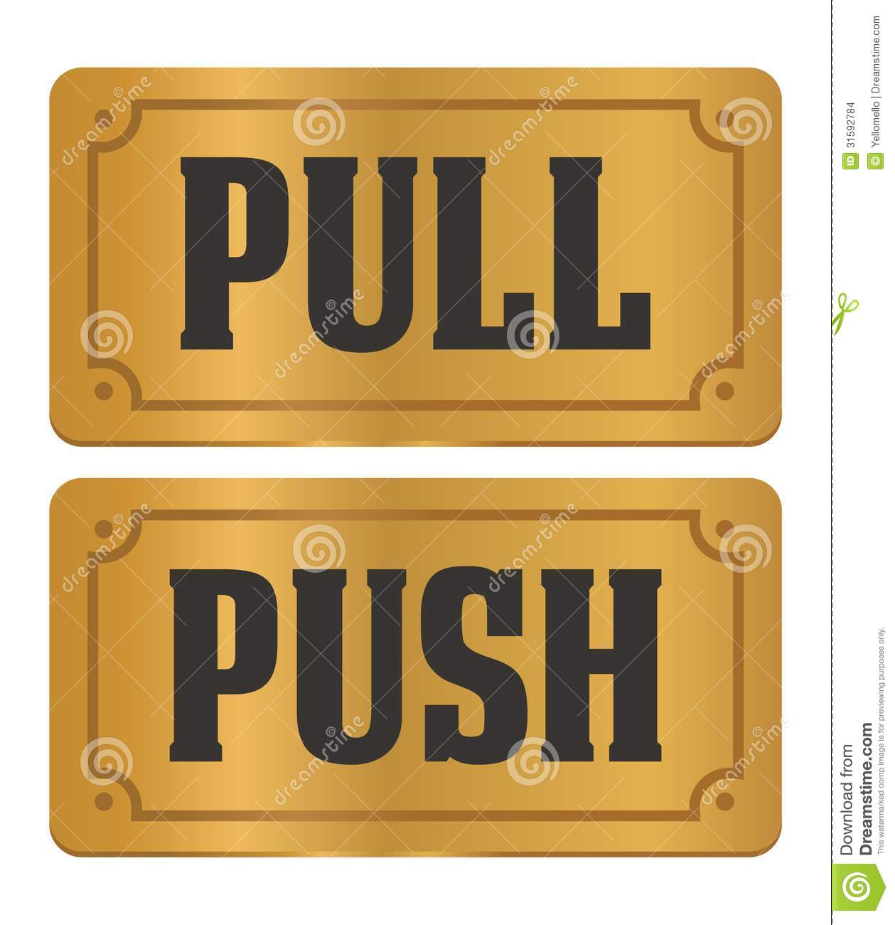 Push Or Pull Clipart Pull And Push Gold Door.