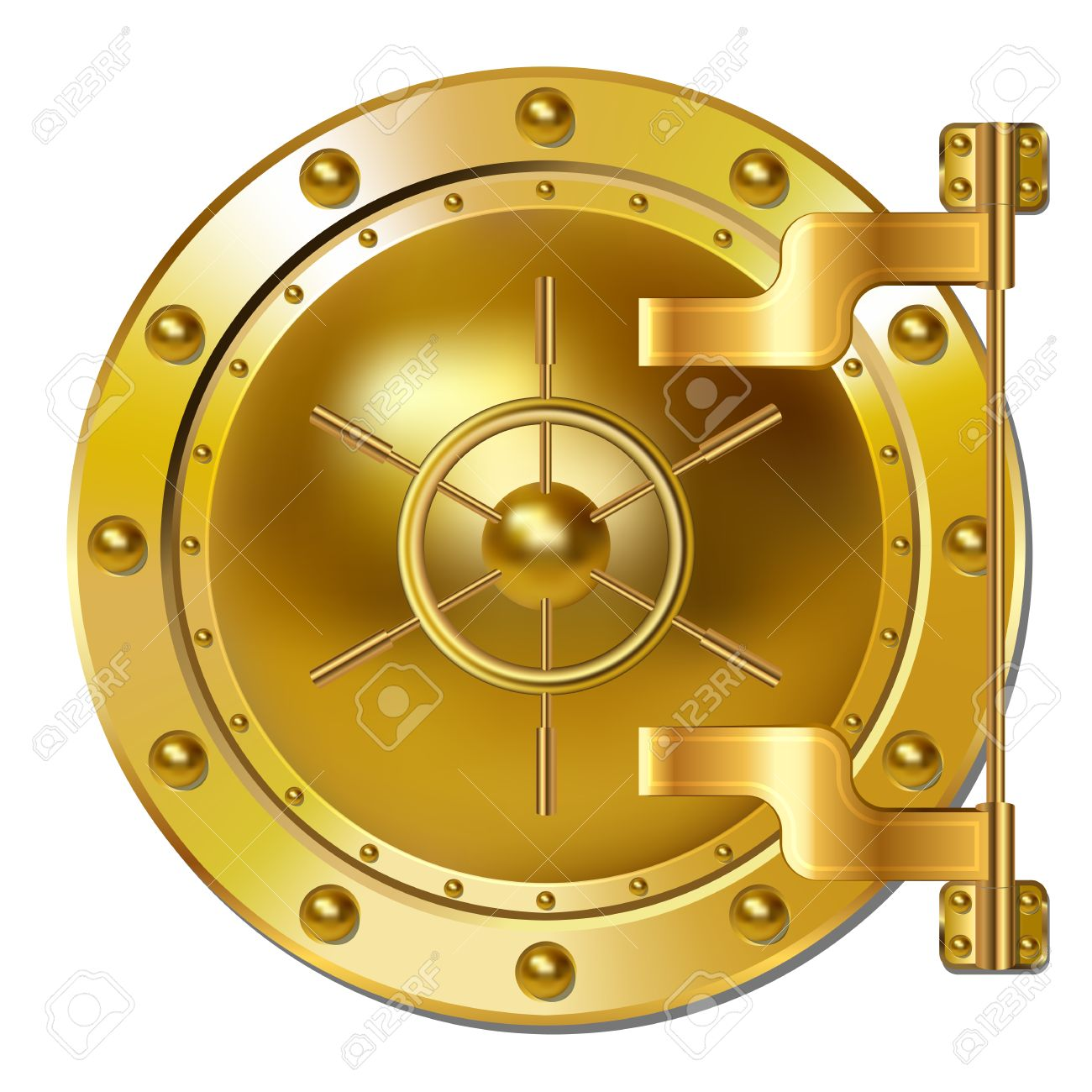 Gold Bank Vault Door Royalty Free Cliparts, Vectors, And Stock.