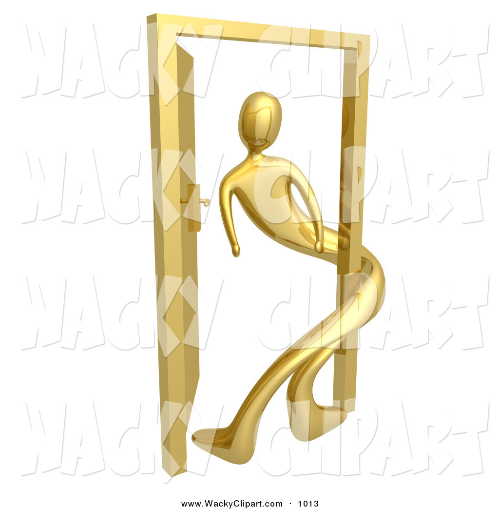 Clipart of a Gold Person Twisted Around the Frame of an Open Door.