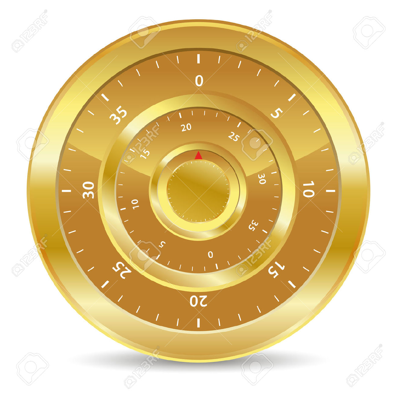 Gold Combination Lock For Safe Values Royalty Free Cliparts.