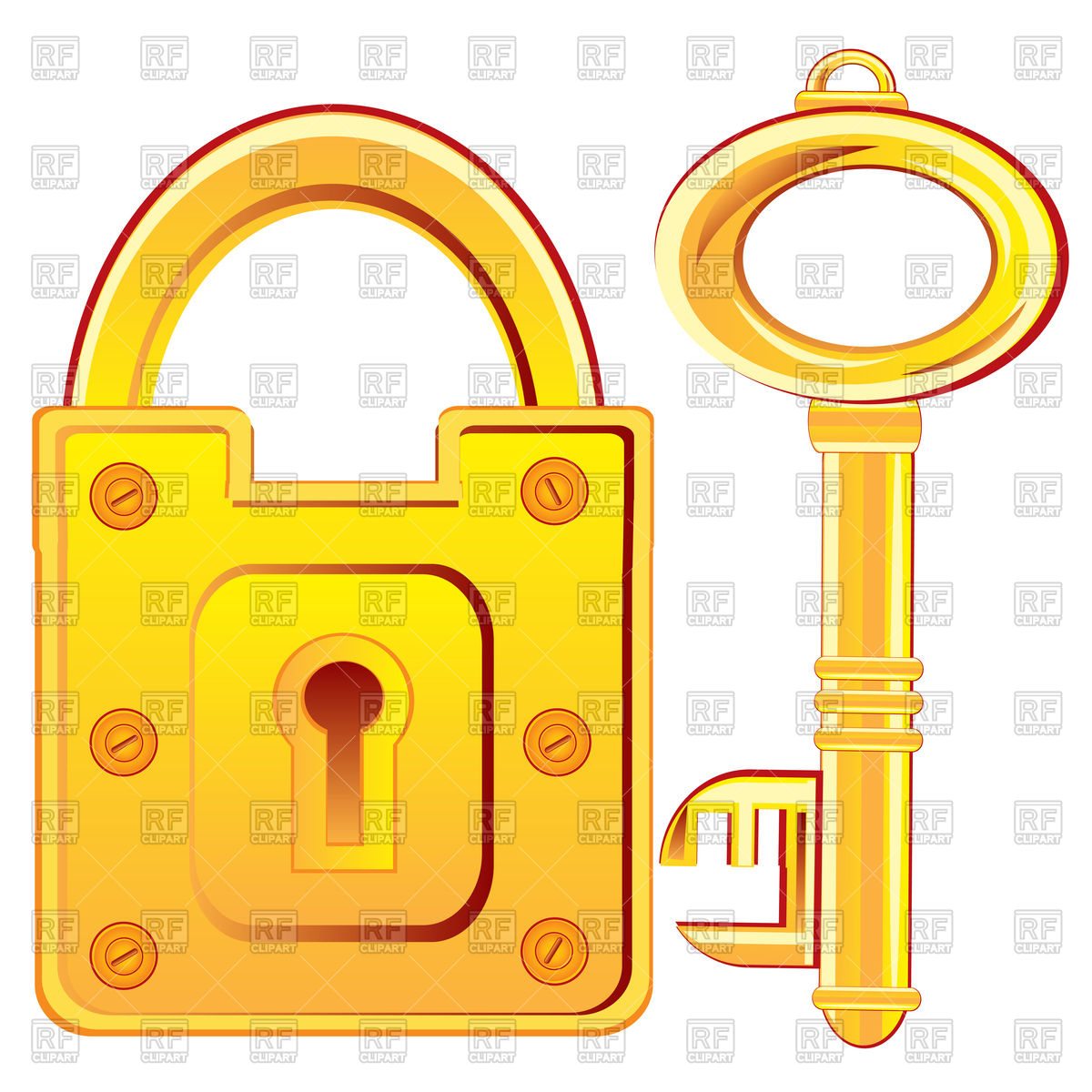 Door lock and key from gold Vector Image #93945.