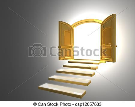 Drawings of Big Golden Door opened on white with some gold steps.