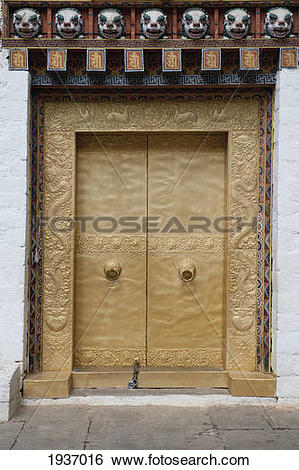 Stock Images of A Gold Door In The Punakha Dzong; Punakha District.