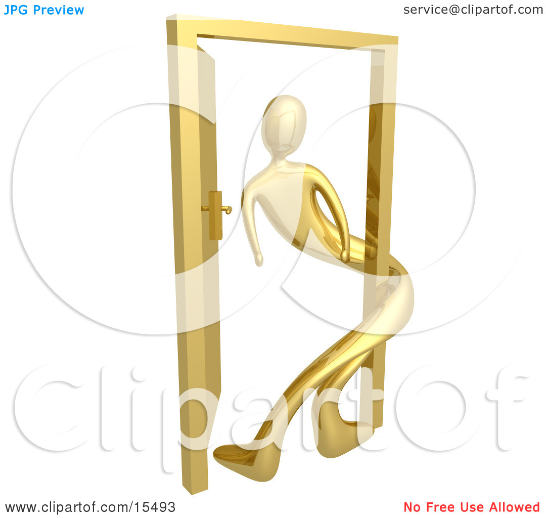 Gold Person Twisted Around The Frame Of An Open Door, Symbolizing.