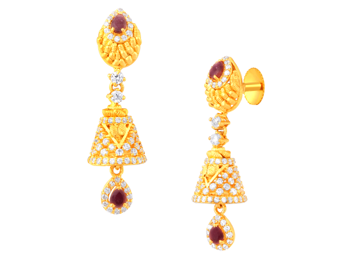 Splendid jhumka gold earrings.