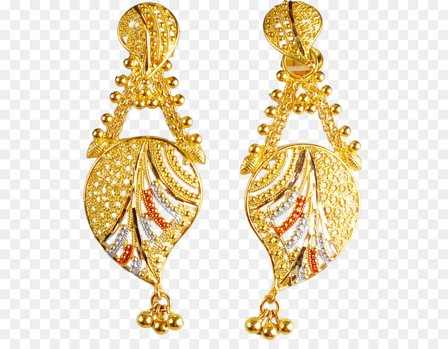 Gold Earrings png download.