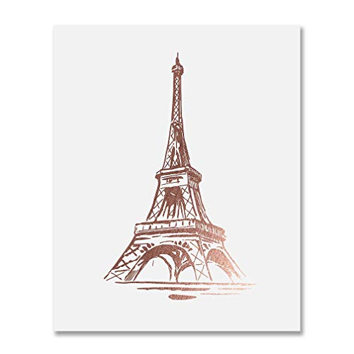 Eiffel Tower Rose Gold Foil Print Wall Art Home Decor France Paris Fashion  Poster Metallic 8 inches x 10 inches B19.