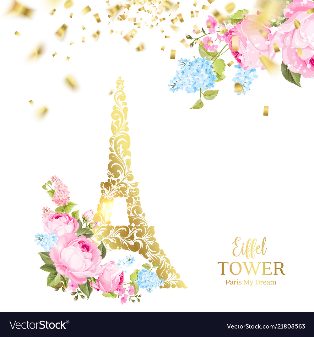 Eiffel tower icon with golden confetti falls.