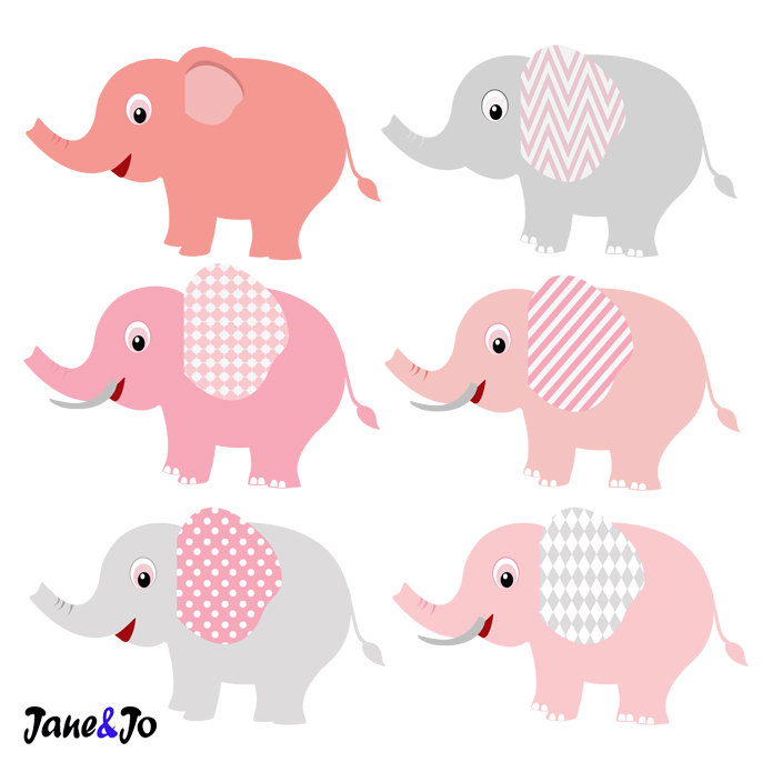 24 Elephant Clipart Pink and Grey Elephant Clip Art, Baby.