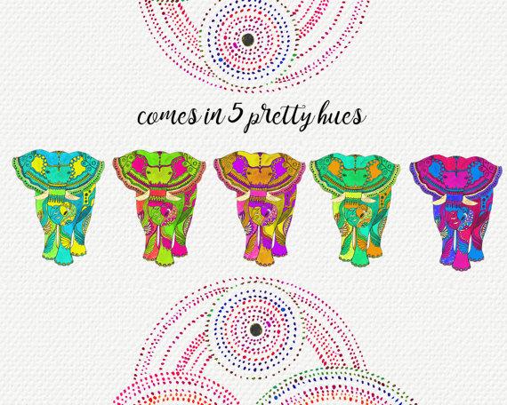 Boho Elephant Clip Art.