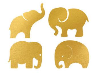 gold elephant clipart #18