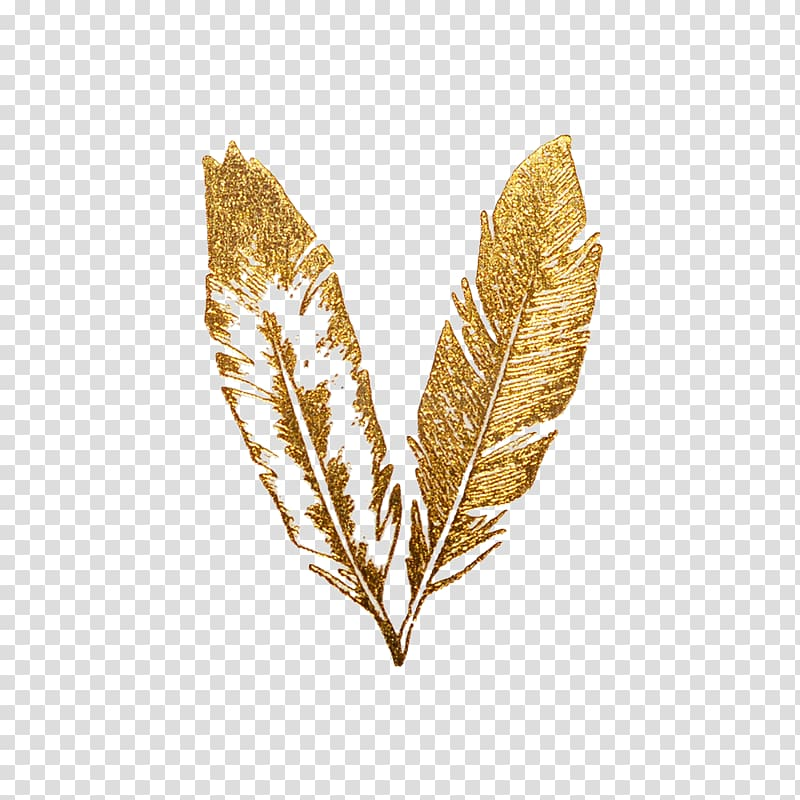 Feather Gold Flash Tattoo, gold texture transparent.