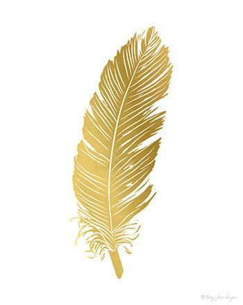 FeatherPrint, Feather Art Print, Printable Feather, Gold Feather.