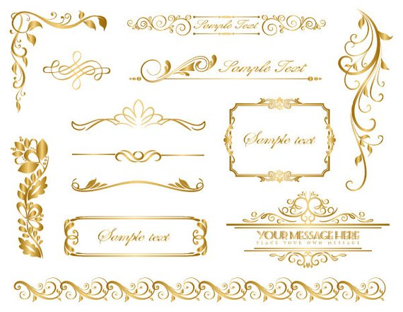 Instant Download Gold Frame Border Clip Art Gold Flourish Swirl.
