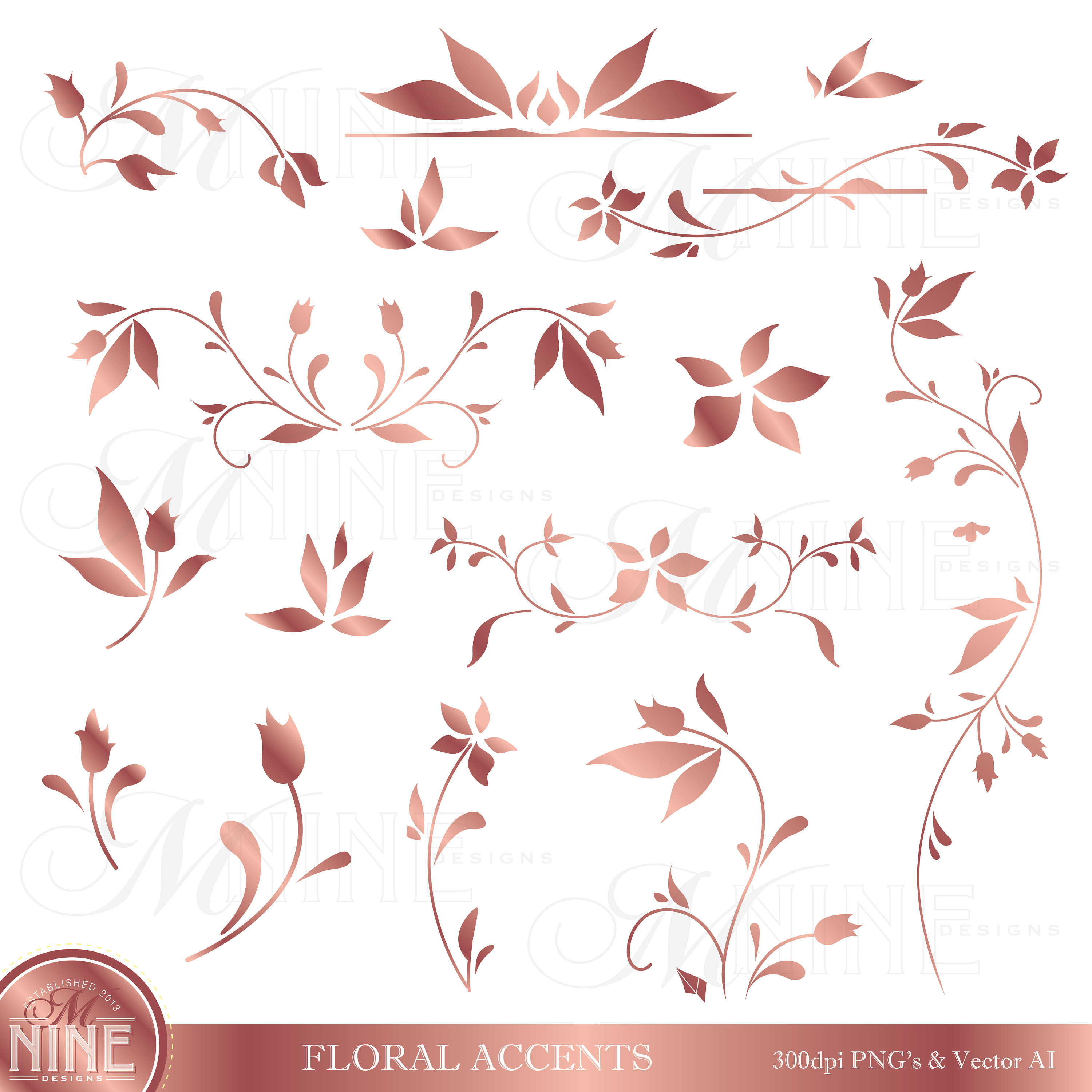 Rose Gold FLORAL ACCENTS Clipart.
