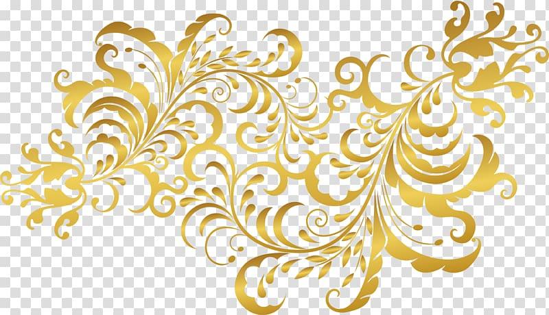 Golden flower plants, gold filigree calligraphy transparent.