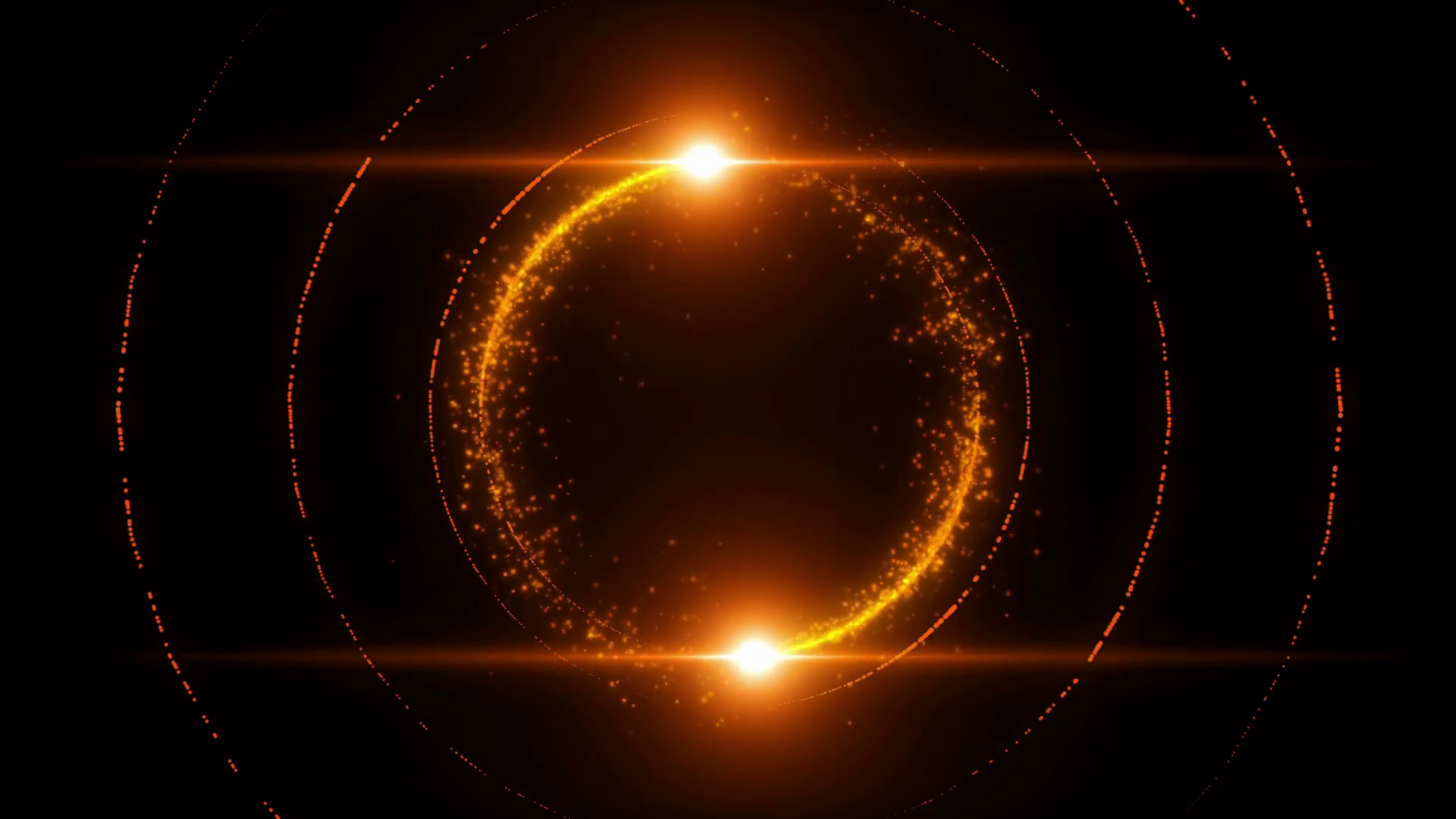 Lens Flares Spinning and Forming Particles Ring Orange Gold.