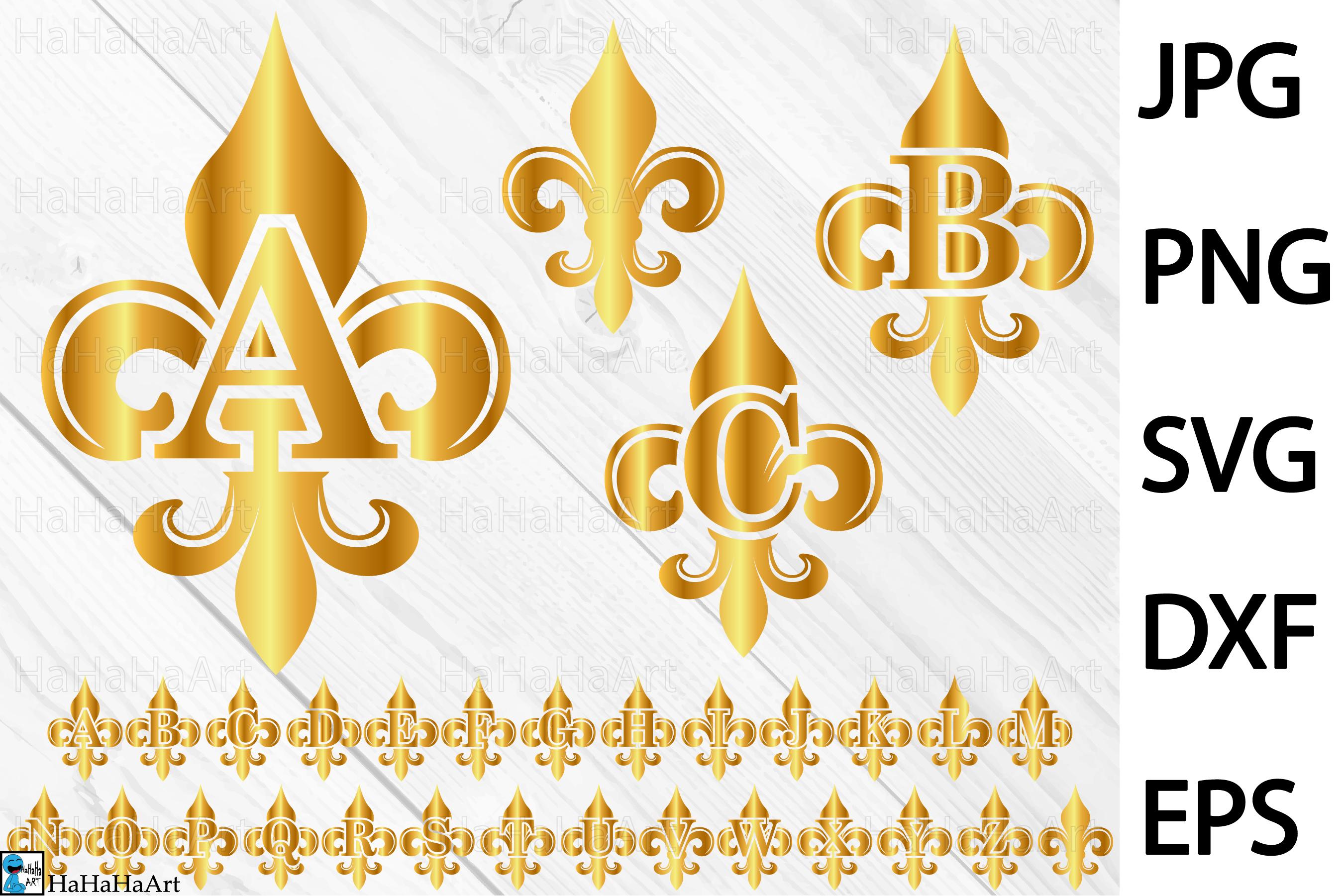 Gold Fleur De Lis Alphabet.