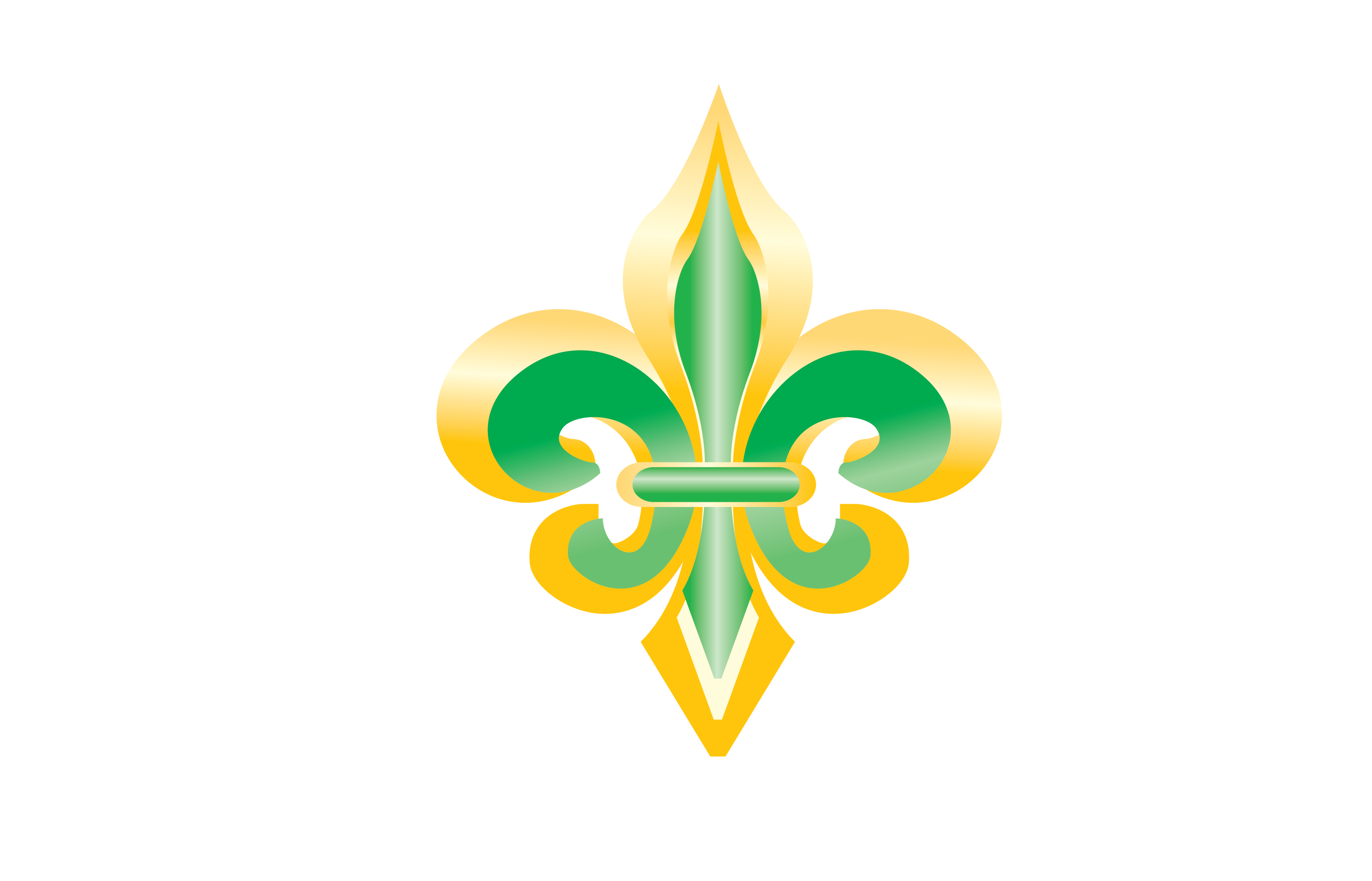 Gold and Green Fleur de Lis Clip Art.